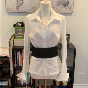 White blouse with detachable black belt